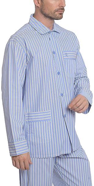 Pijama de Caballero Largo clásico a Rayas/Ropa de Dormir para Hombre - Tela Popelín