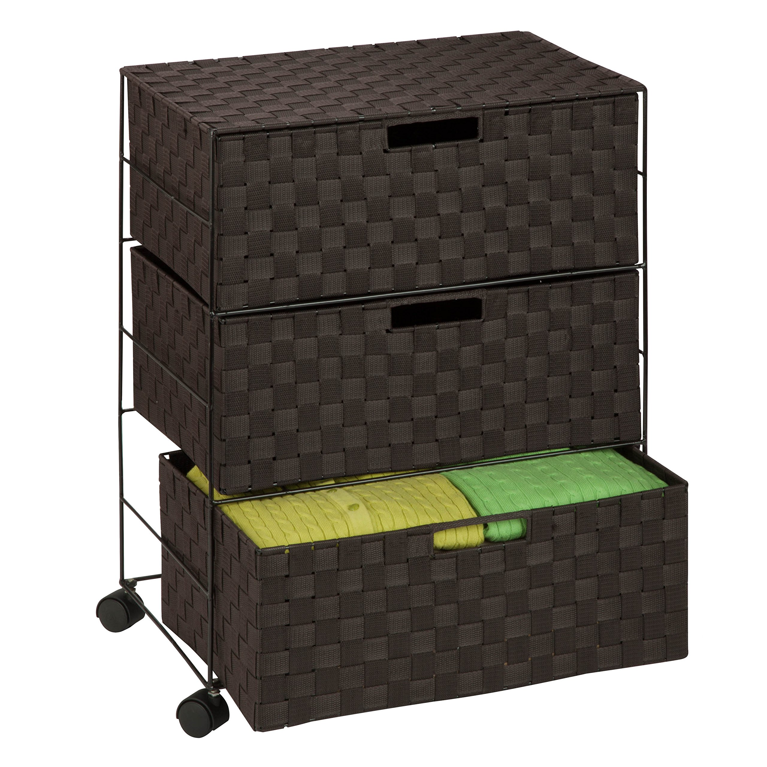 Honey-Can-Do OFC-03713 Double Woven 3-Drawer Chest Storage Organizer, Espresso Brown, 19.5L x 13W x 26H by Honey-Can-Do