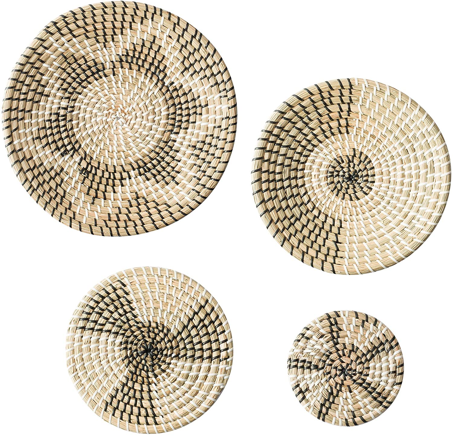 CUGUGRDS Natural Wicker Wall Basket Decor Set of 4- Handmade Seagrass Woven Wall Hanging Baskets, Flat Round Boho Wall baskets for Home Bedroom, Kitchen, Living Room, Unique Wall Art