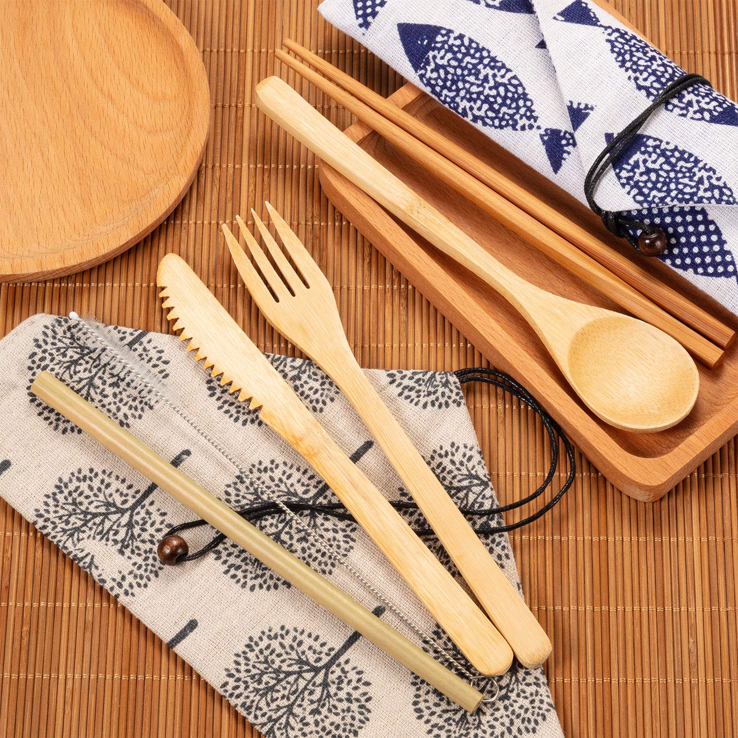 Bamboo Utensils Cutlery Set with Case