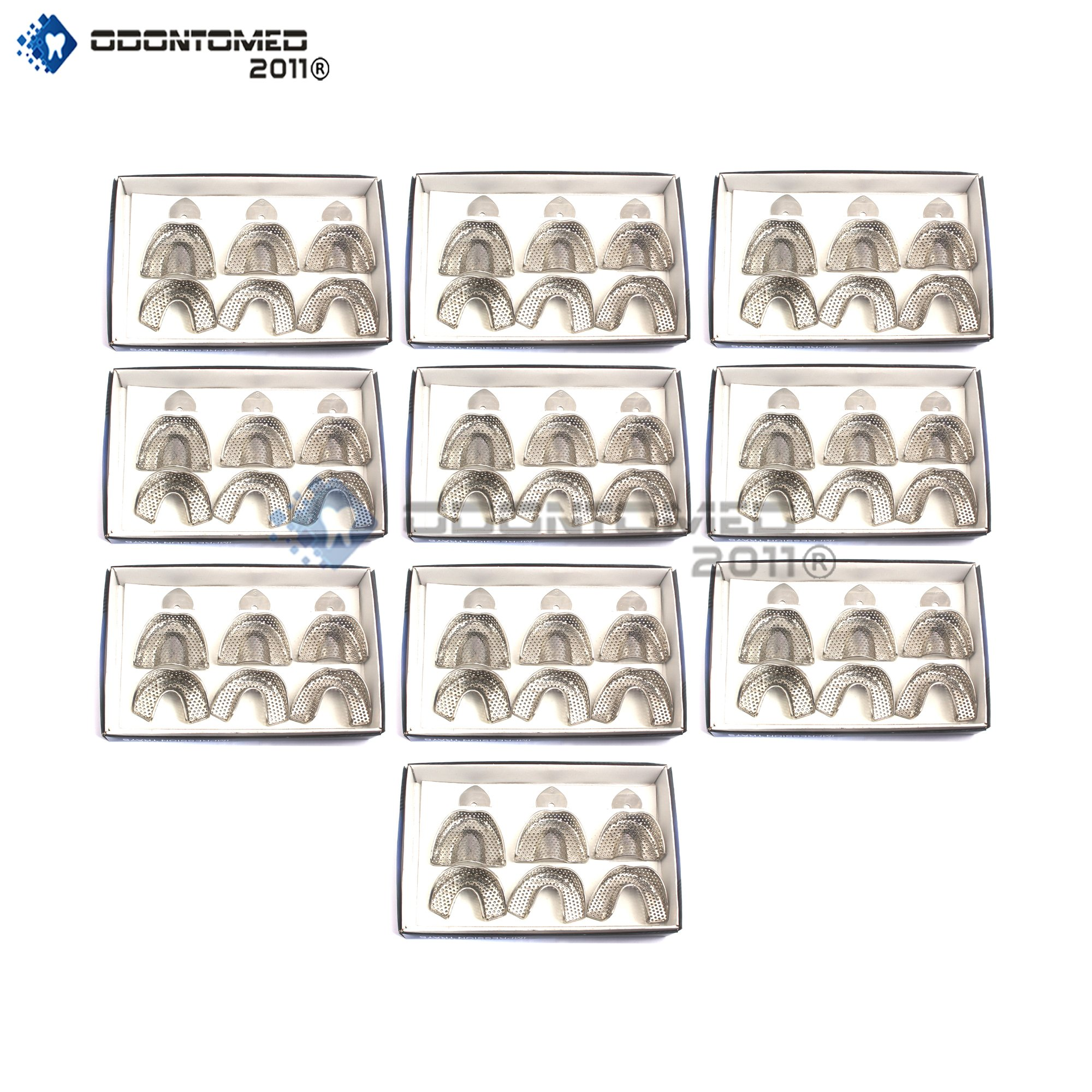 OdontoMed2011 10 Set Of 6 Pieces Dental Impression Trays Baby Perforated Denture Instruments Stainless Steel ODM