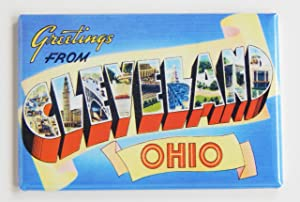 Greetings From Cleveland Ohio Fridge Magnet (2 x 3 inches)