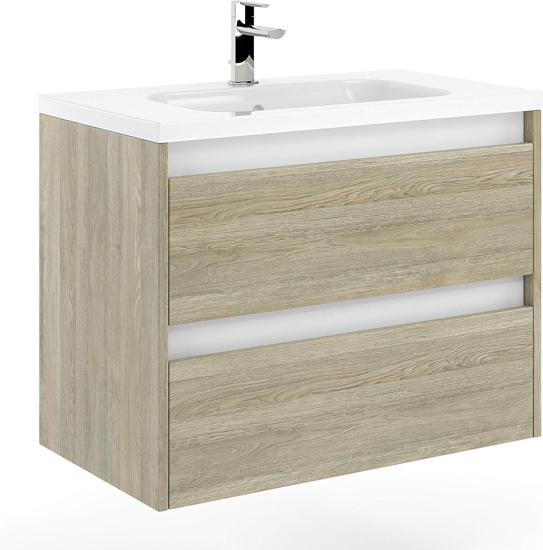 Amazon Com Randalco 32 Modern Bathroom Vanity Cabinet Docce Toasted Oak Wood 32 X 24 X 18 Inch Vanity Cabinet Ceramic Top Sink Furniture Decor