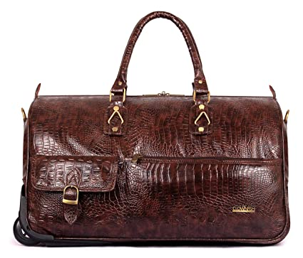 d27d22545602 The Clownfish Paramount 44 liters Crocodile Faux Leather Travel Duffle  Trolley