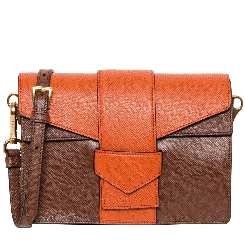 56dff9570fe0 Prada Women s Saffiano Bi-color Shoulder Bag Brown Orange  Handbags   Amazon.com