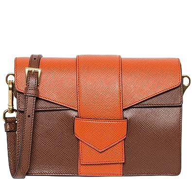 5bbb9e7ab0fe Prada Women's Saffiano Bi-color Shoulder Bag Brown Orange: Handbags ...