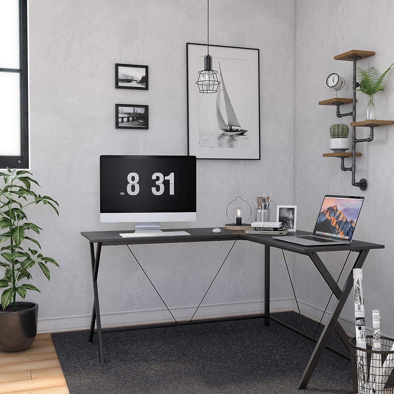 gro/ßer Gaming Schreibtisch in L-Form Schwarz LWD70BK f/ür Home Office stabil und langlebig VASAGLE Computertisch einfache Montage Eckschreibtisch
