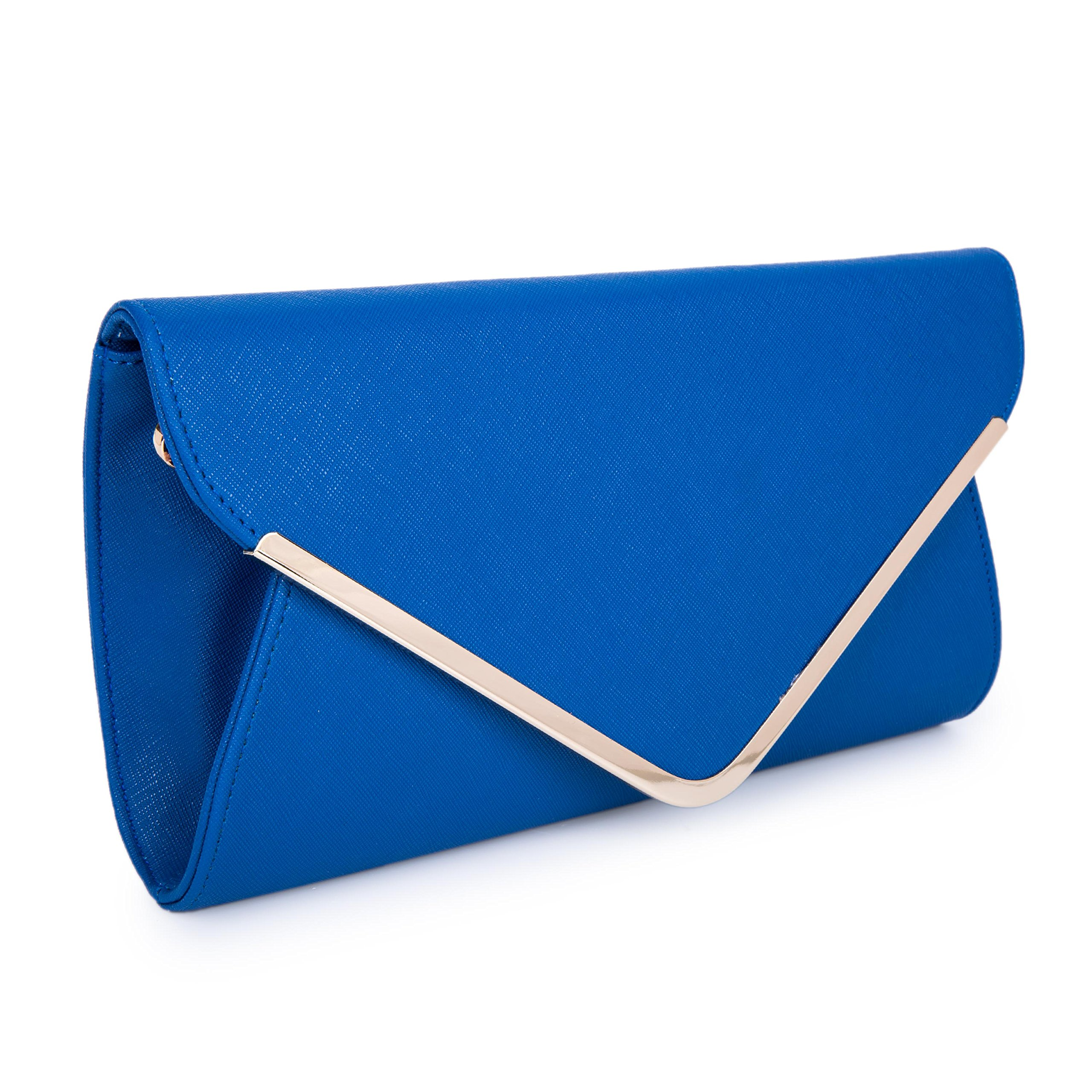 Chichitop Leather Evening Envelope Clutches Bag with Drop-in Chain Shoulder Strap for Women 2016 New Handbags Shoulder Bags,Blue
