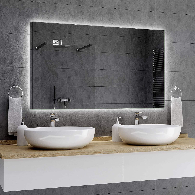 DUBAI Led Badspiegel Wandspiegel TOUCHSENSORUHRLED SCHMINKSPIEGEL