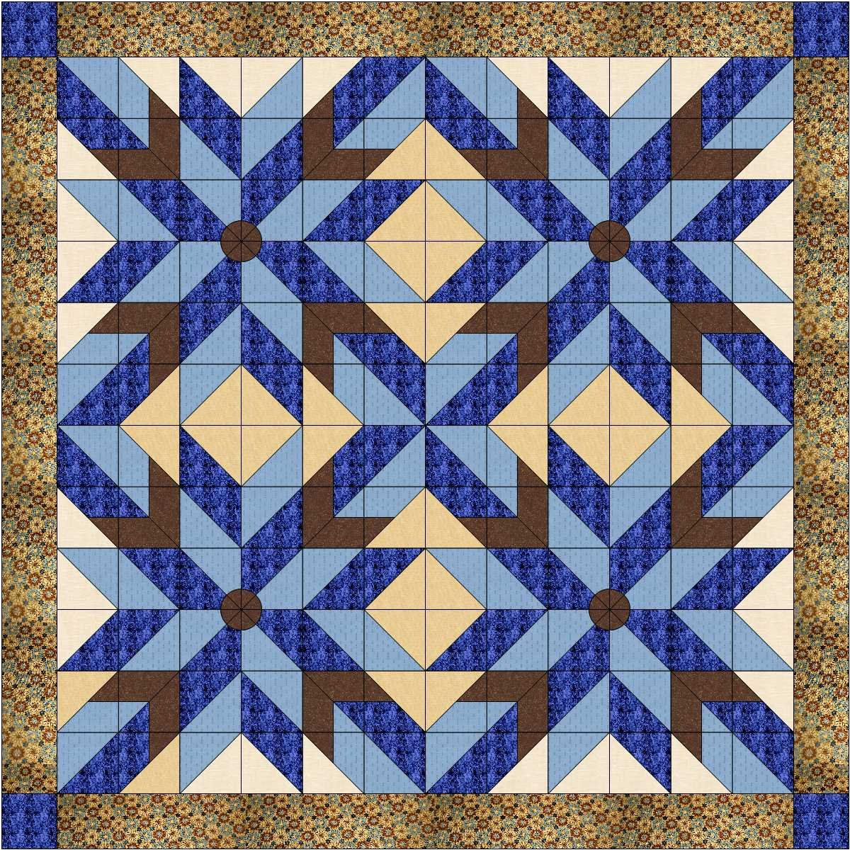 Quilt Kit Classic Barn Stars/Blues and Browns Galaxy/RJR