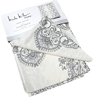 Amazing Nicole Miller Medallion Pair Of Curtains Ash Gray On Ivory White Colors  Medallion Print China Paisley