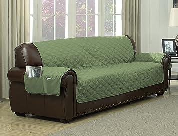 Avondale Manor Ashford Reversible Sofa Cover, Sage/Linen