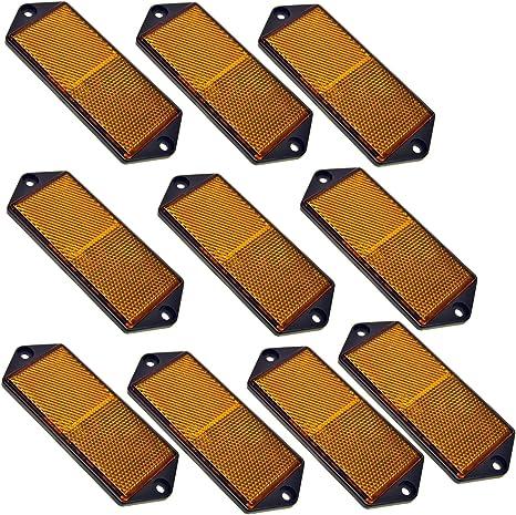Ambre Large Rectangulaire Latérale Réflecteur Pack De 4 Remorque Barrière//Gate Post TR067