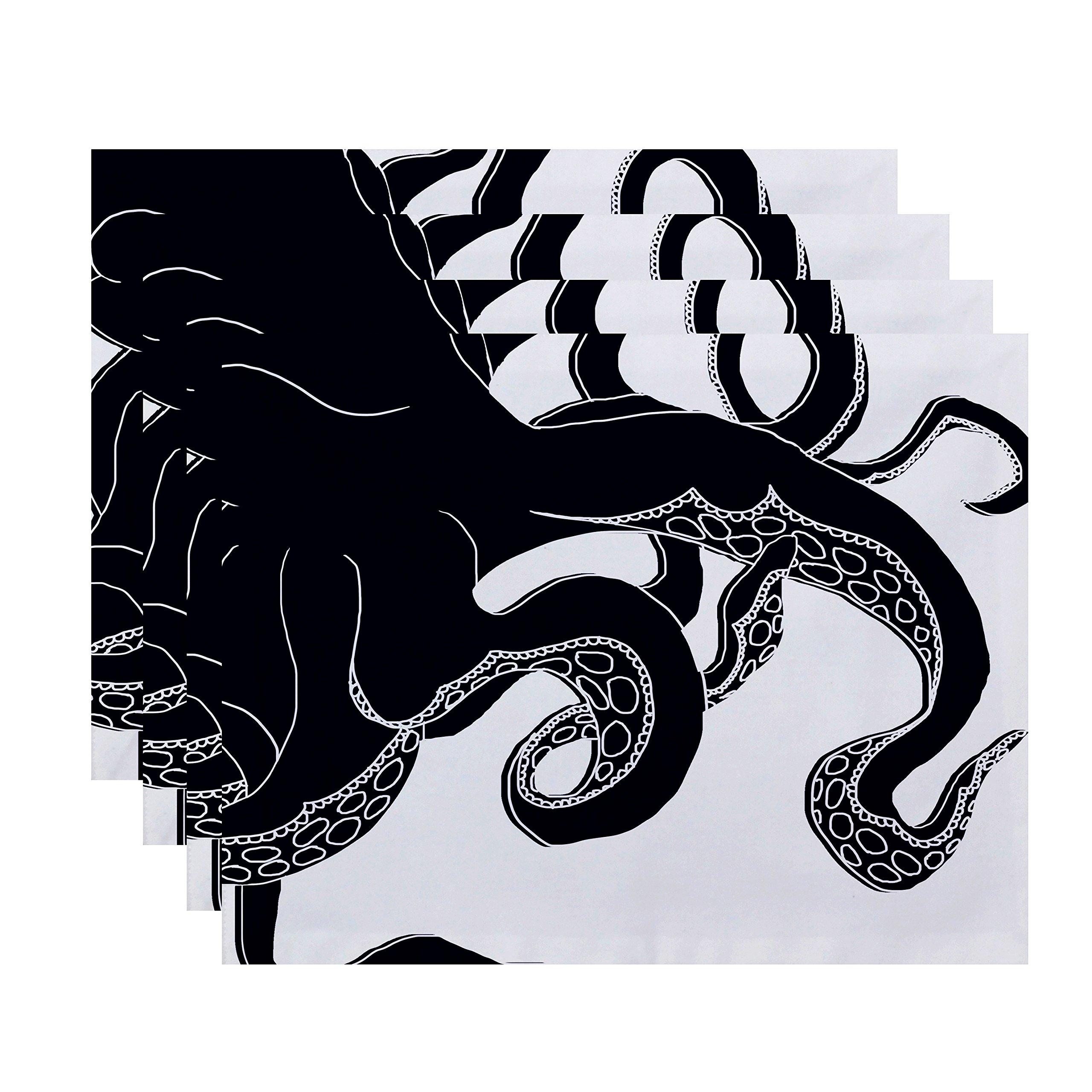 E by design PT4A783BL1 Gus, Animal Print Placemat, 18x14'', Navy Blue