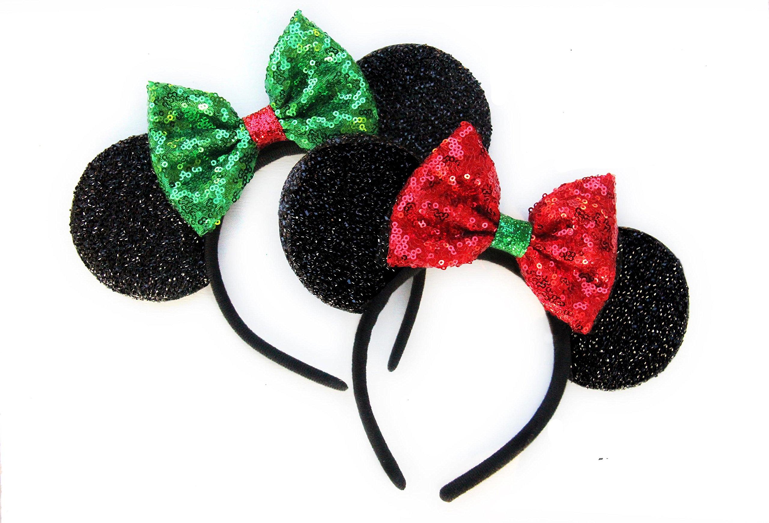 Two x Christmas Mickey Ears, Christmas Minnie Ears, Xmas Mickey Ears, Christmas Disney,Holiday Ears