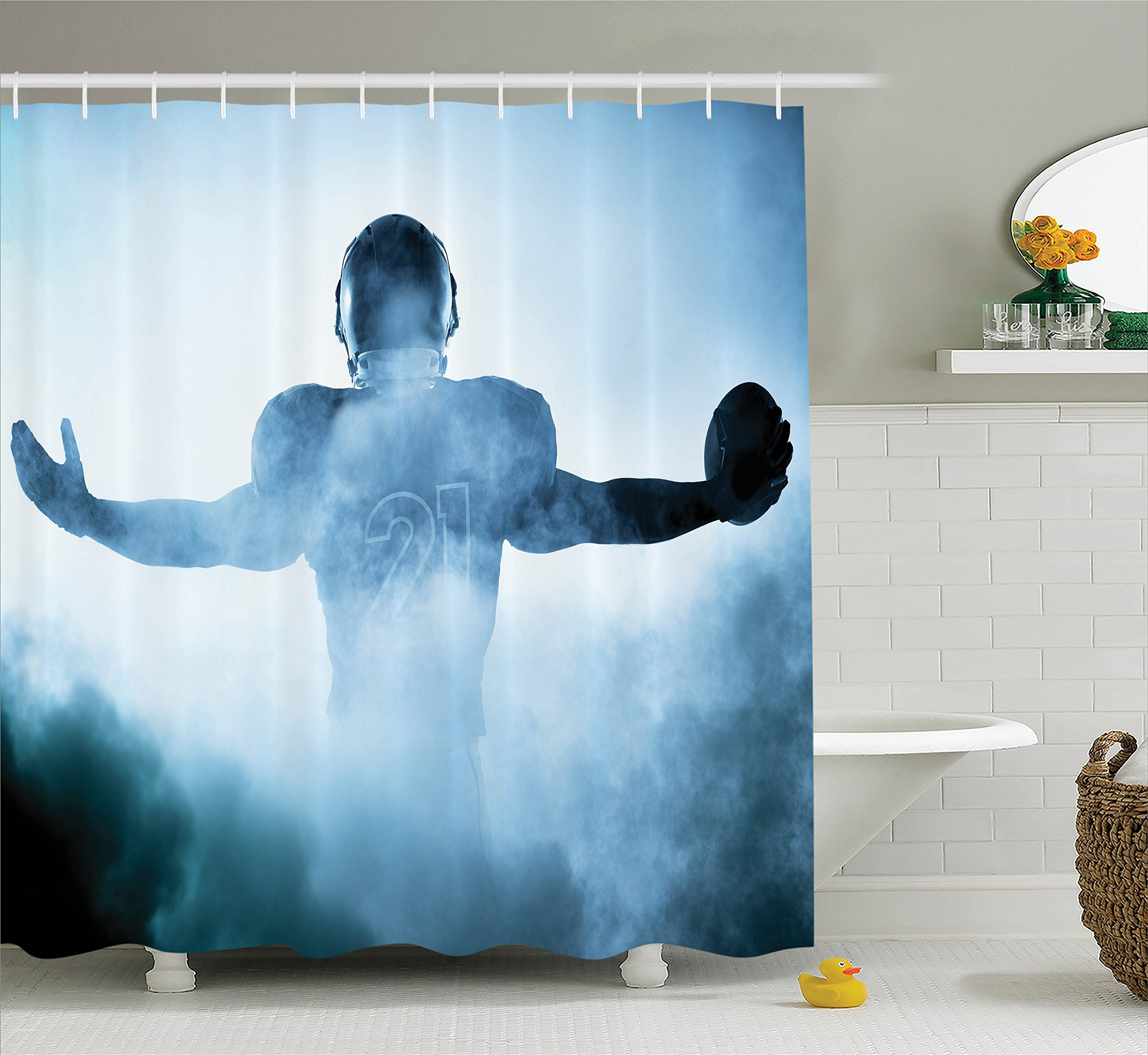 Ambesonne Football Decor Shower Curtain Set, Heroic Shaped Rugby Player Silhouette Shadow Standing in Fog Playground Global Sports Photo, Bathroom Accessories, 69W X 70L inches, Blue