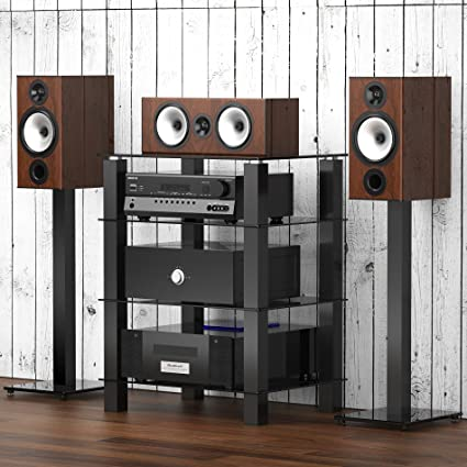 Fitueyes Glass Tv Stand 4 Tier Hifi Media Rack With Audio Video Component Shelves Black As406002gb