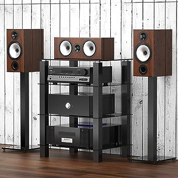 fitueyes meuble hifi avec 4 etagres pour boitier tv stro lecteur dvd enceinte cinma xbox en