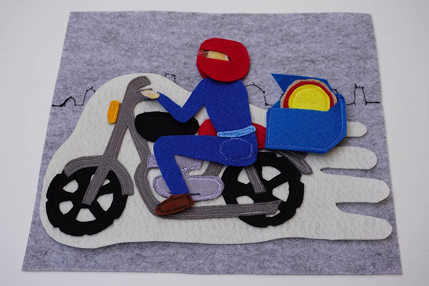 Pizza Delivery On A Motorcycle Birthday Gift For Toddlers Quiet Book Page