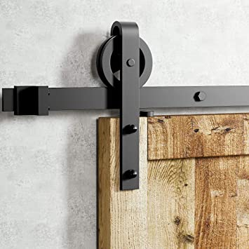 Homacer Sliding Barn Door Hardware Bypass Double Door Kit 11FT Flat Track U-Shape Bracket Straight Design Roller Black Rustic Heavy Duty Interior Exterior Use