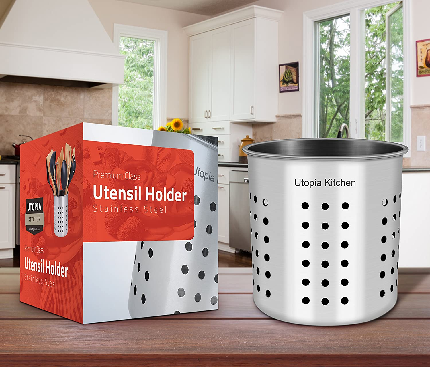 Amazon.com: Utopia Kitchen Utensil Holder   Utensil Container   Utensil  Crock   Flatware Caddy   Brushed Stainless Steel Cookware Cutlery Utensil  Holder ...