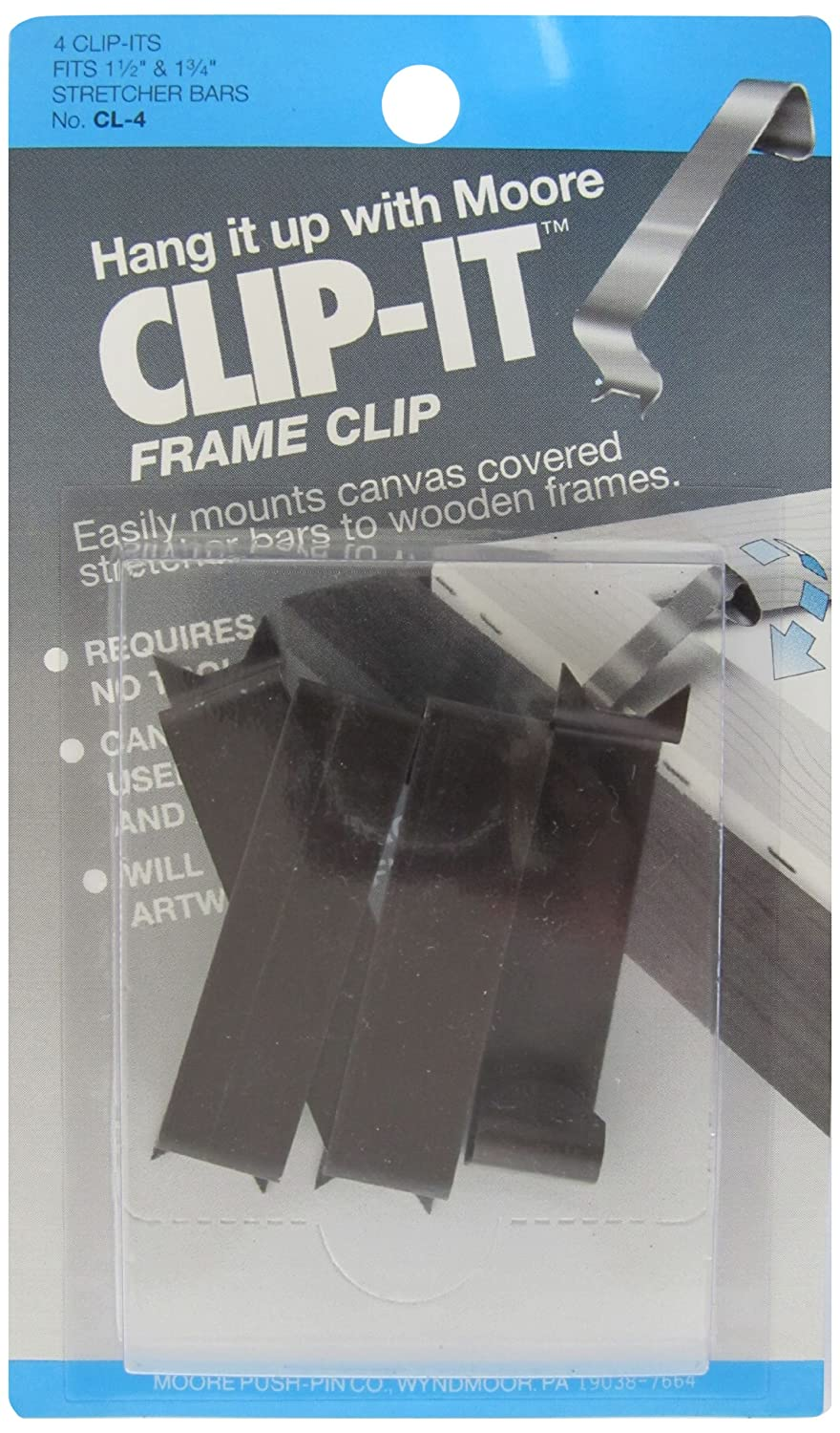Amazon.com: Moore Push-Pin Clip It Frame Clips, 4 Clips per Pack ...