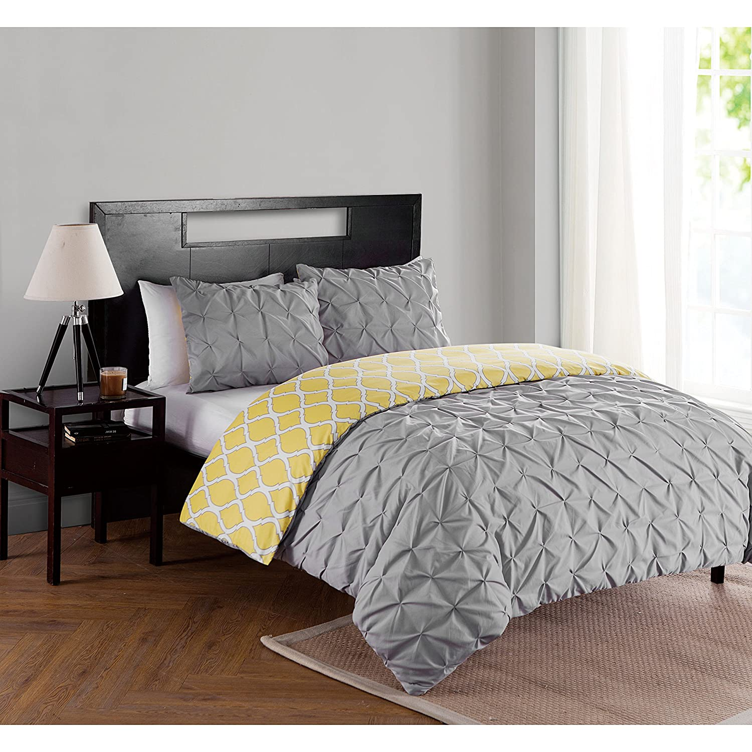 2 Piece Charcoal Grey Yellow Ikat Pintuck Textured Duvet Cover Twin Xl Set, Gray Solid Color Trellis Pattern Reversible Adults Bedding Master Bedroom Modern Gorgeous Comfortable, Polyester