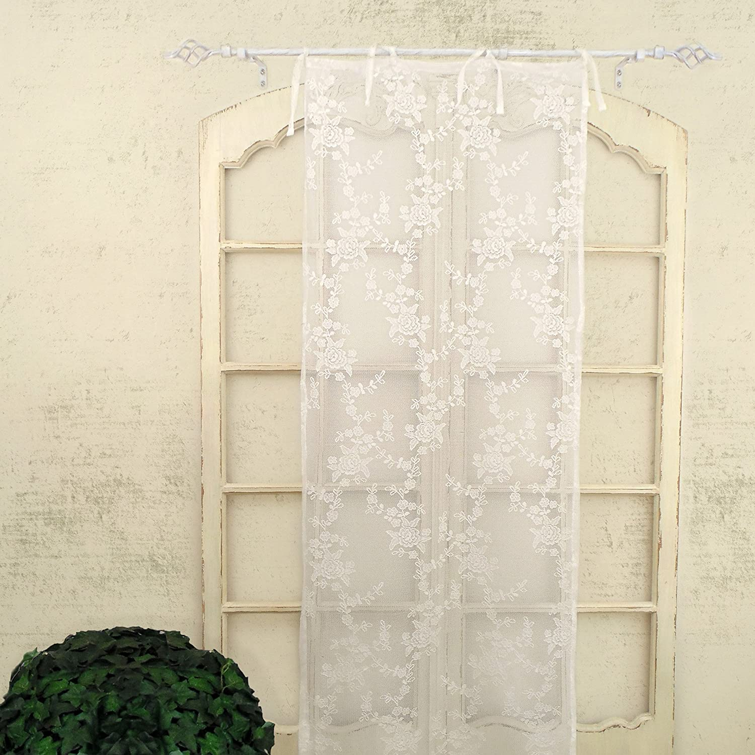 Tenda finestra Pizzo Poliestere Shabby Chic Poly-Ciel Collection 60 x 220 Colore Bianco AT17