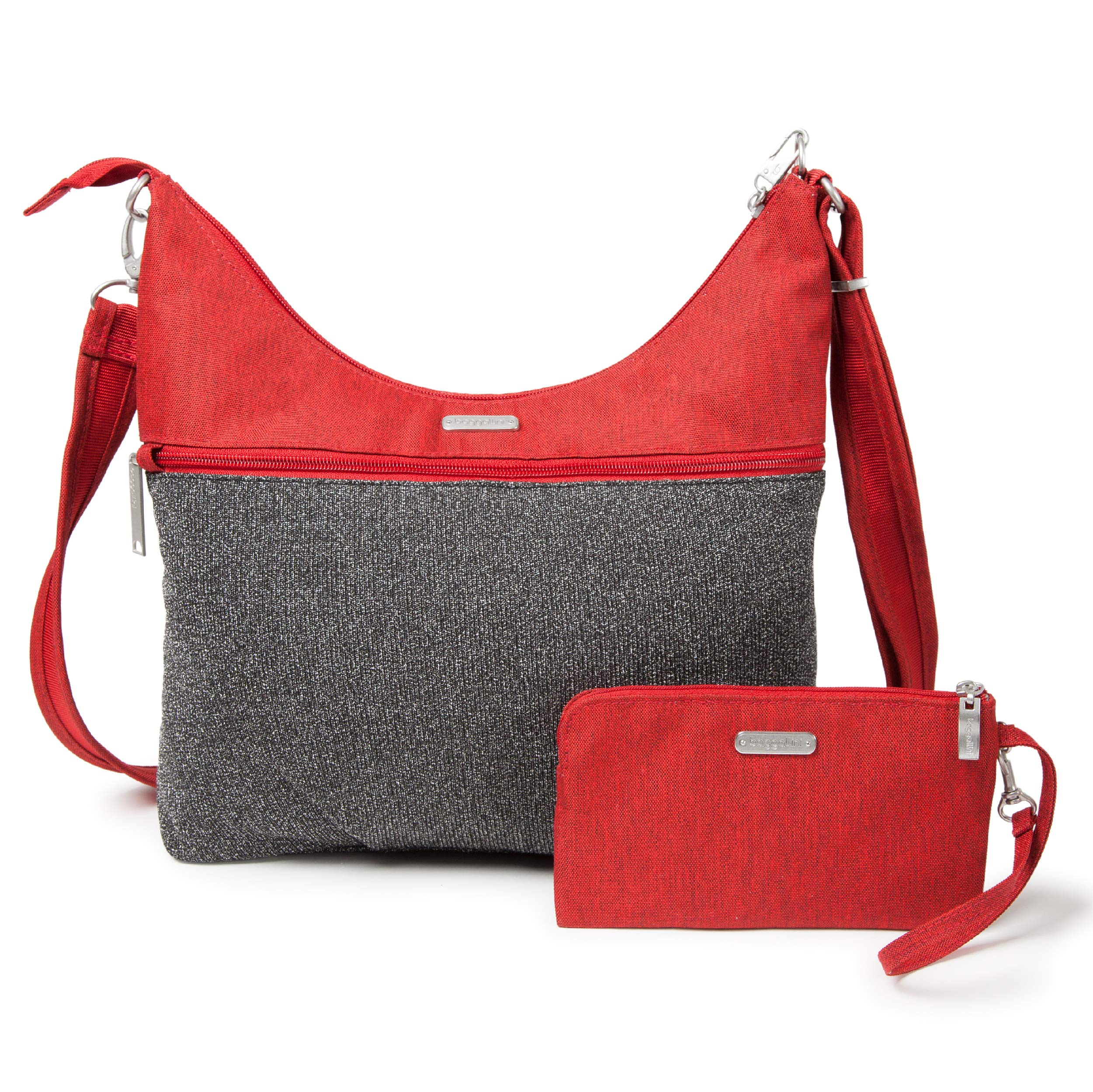 Baggallini Anti-Theft Hobo Bag - Stylish Travel Purse With Locking Zippers and RFID-Protected Wristlet, Red and Gray Design