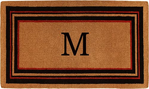 Calloway Mills 180061830M Esquire Monogram Doormat, Extra-Thick 18 x 30 x 1.50 , Natural Black Red Letter M