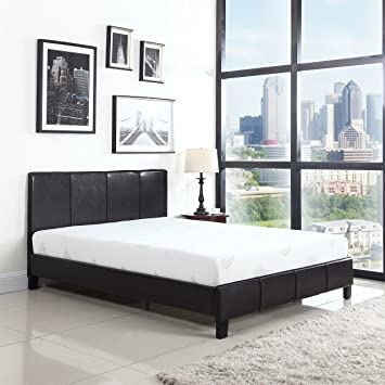 classic deluxe bonded leather low profile platform bed frame with paneled headboard design fits twin