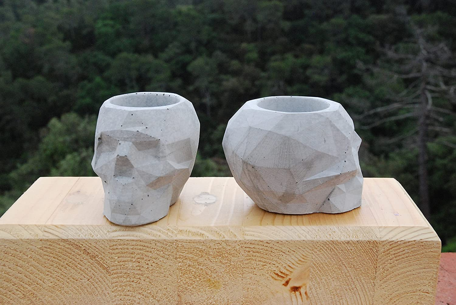 2 Pack de Porta maceta de concreto/Geometry Concret Planter Pot. NO INCLUYE PLANTA.: Amazon.es: Handmade
