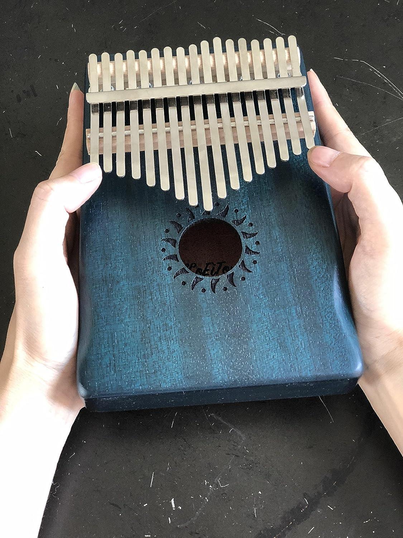 Kalimba 17 Key with Mahogany,Portable Thumb Piano Mbira/Marimba Sanza of Wooden Attached Ore Metal Tines (Spruce and Blue Cedar) KoEiTop