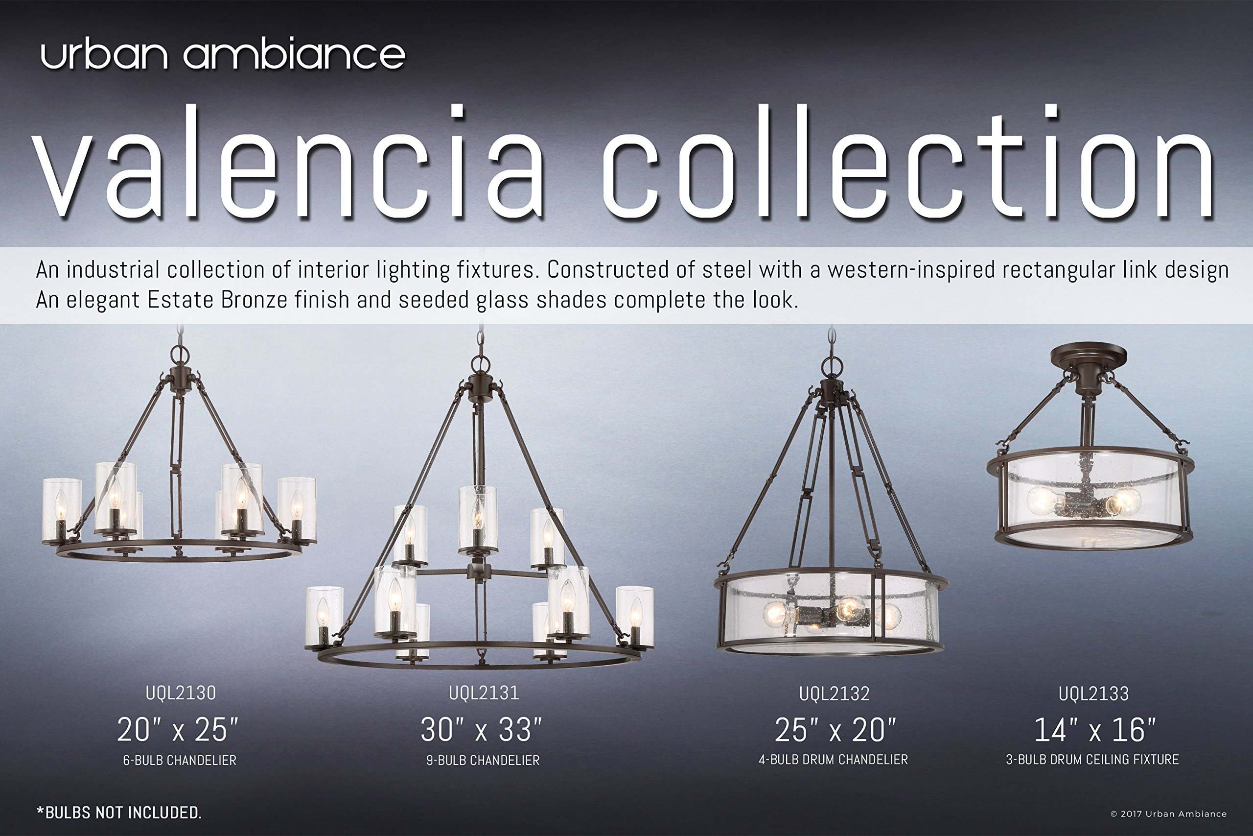 Luxury Industrial Chandelier, Large Size: 30''H x 33''W, with Western Style Elements, Rectangular Link Design, Elegant Estate Bronze Finish and Seeded Glass, UQL2131 by Urban Ambiance by Urban Ambiance (Image #6)