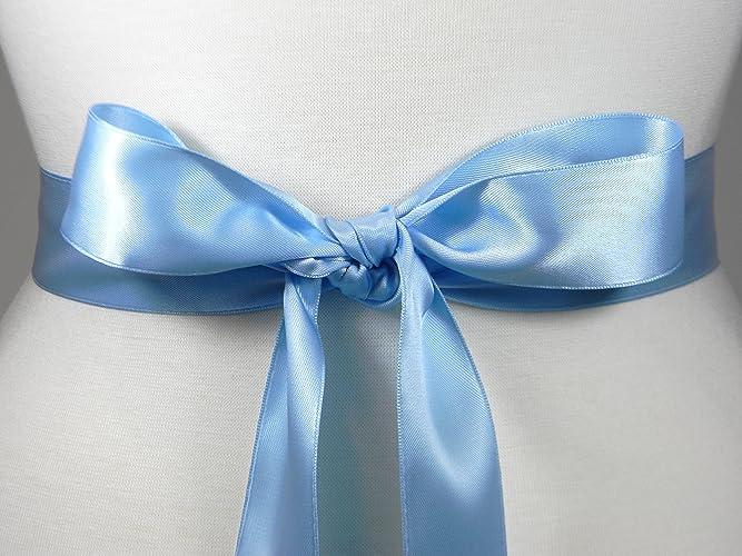 Amazon.com: Light Blue Bridal Sash, Plain Satin Wedding Belt, Satin ...