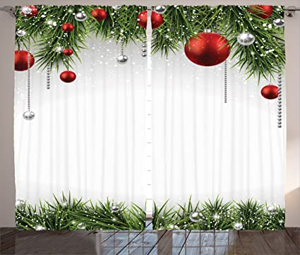 ambesonne christmas decorations curtains by classical christmas ornaments and baubles on pine tree twig tinsel - Amazon Christmas Decorations