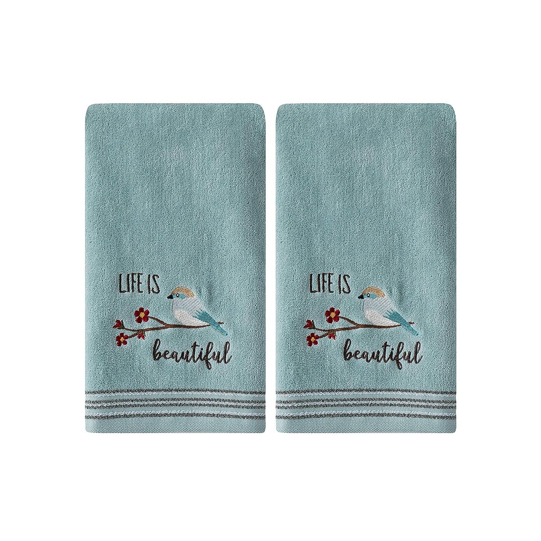 SKL Home by Saturday Knight Ltd. Life Is Beautiful 2 Pc Hand Towel Set, Aqua