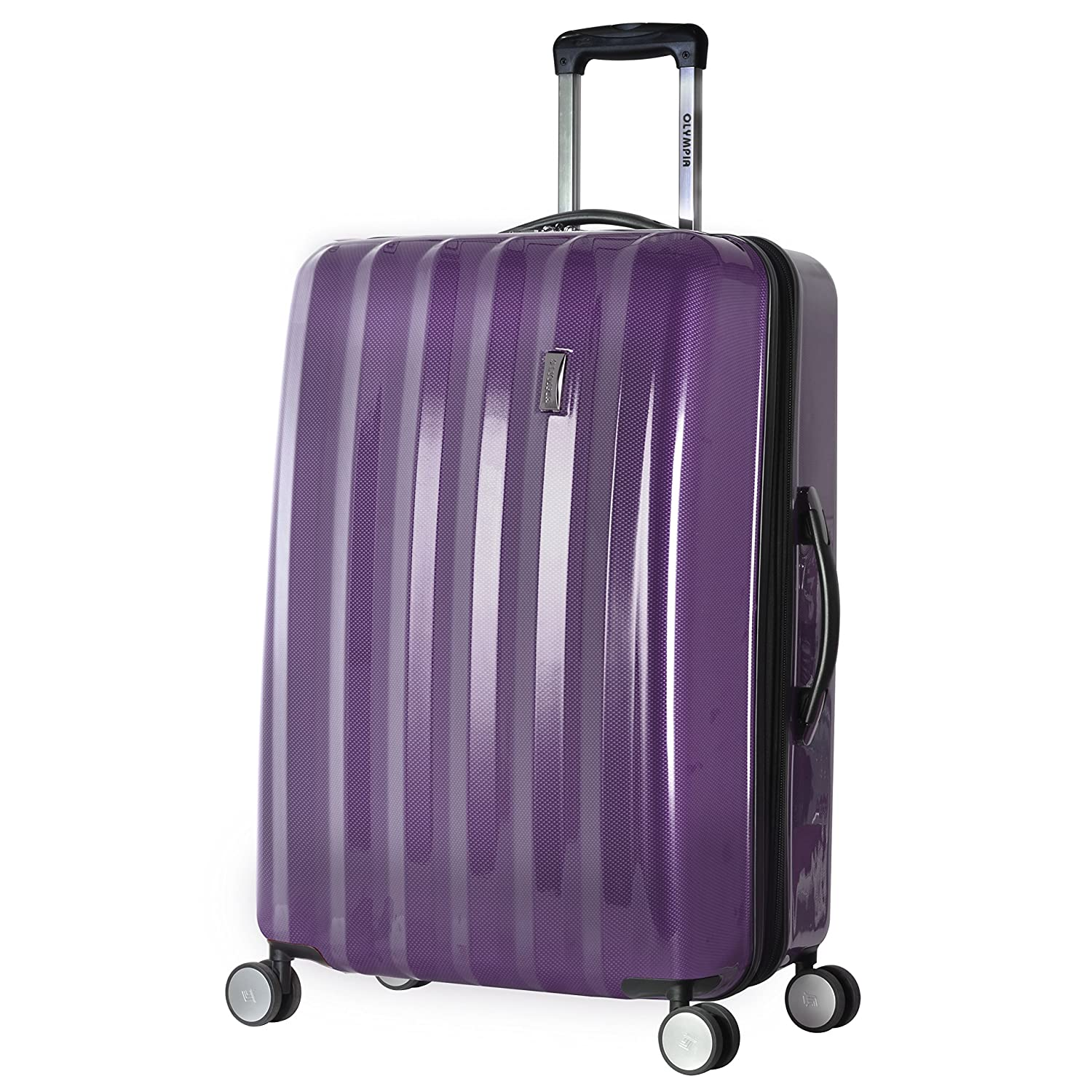 ee6c43834 Amazon.com | Olympia Titan 3 Piece Expandable Polycarbonate Hard Case  Spinner Set, Purple, One Size | Suitcases