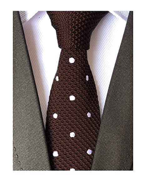 Mens Youth Teen Kids Silk Knitted Tie Brown Slim Necktie Groomsman