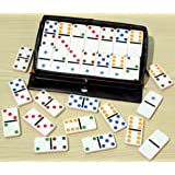 Dominoes-double six, plastic with coloured spots- 00117