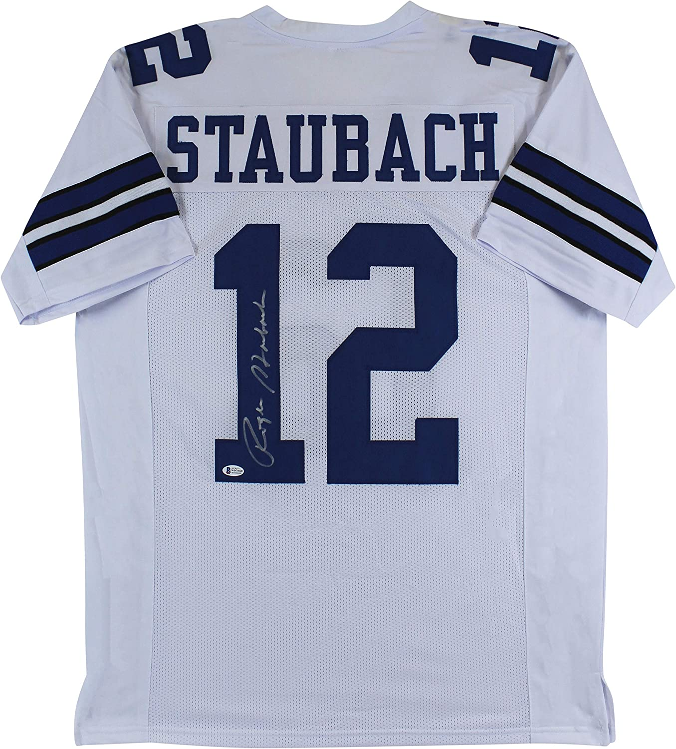 Roger Staubach Authentic Signed White Pro Style Jersey BAS