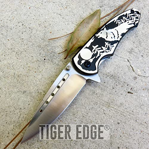 New Cool ProTactical Limited Edition Elite Folding Pocket Knife Silver Black Blade Wolf Tactical Hunting