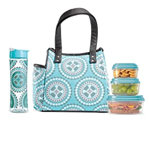 Fit & Fresh Insulated Lunch Bag Kit, includes Matching Bottle and Containers, Westerly Aqua Aztec Medallion