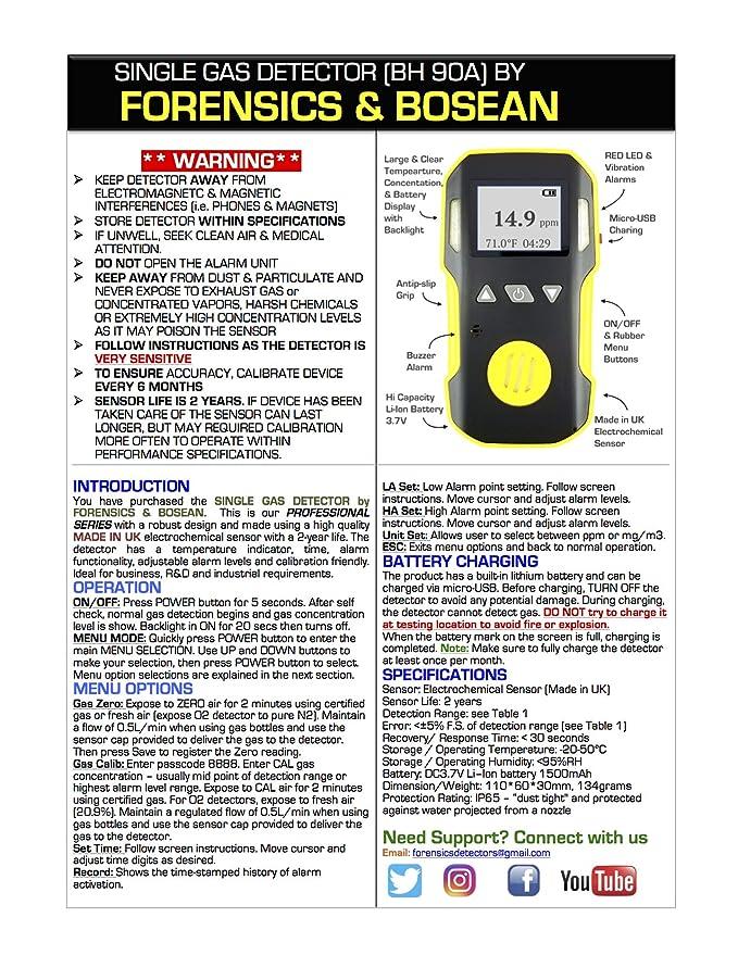 FORENSICS Detector de dióxido de nitrógeno No2: Amazon.es: Bricolaje y herramientas