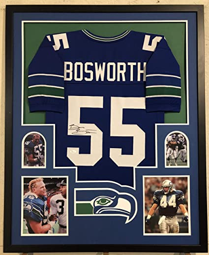 reputable site 2e908 c2496 Brian Bosworth Autographed Custom Framed Seattle Seahawks ...