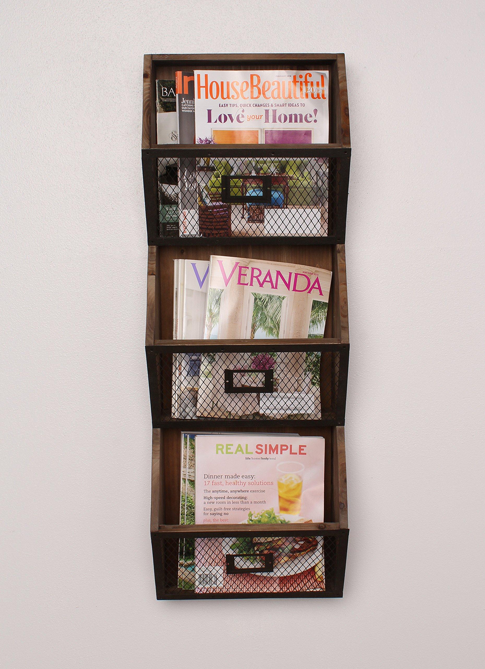 Kate and Laurel Burdock Wood Wall Vertical Storage Pockets