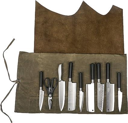 Funda de piel auténtica multiusos para cuchillos y utensilios de cocina, impermeable, portátil, plegable con función impermeable y portátil (HGJ03-H)