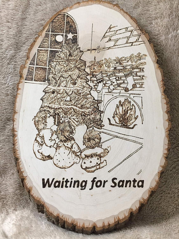 Amazon Com Christmas Wood Gift Item Handmade Pyrography Wood Burning Kids Waiting For Santa Wall Decor Handmade