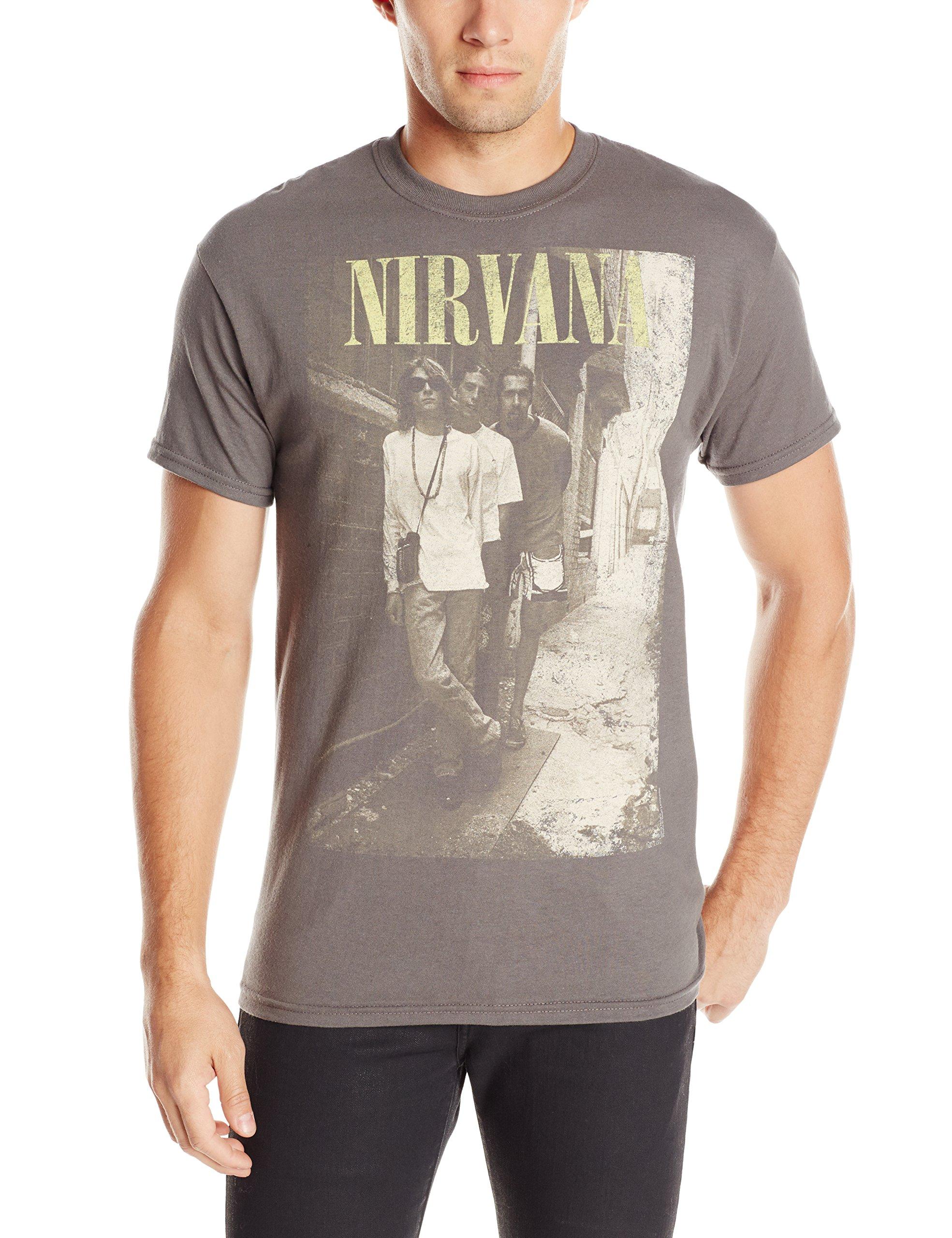 S Nirvana Brick Wall Band Photo Tshirt