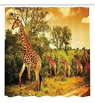 Giraffe Shower Curtain Wildlife African Safari Decor By Ambesonne, Giraffe  And Animals Art For Bathroom Part 49